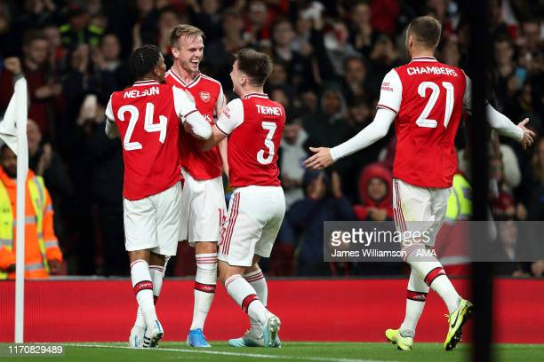 Rob Holding of Arsenal celebrates after scoring a goal to make it 20 during the Carabao Cup Third Round match between Arsenal and Nottingham Forest...