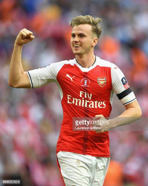 Rob Holding of Arsenal celebrates after The Emirates FA Cup Final between Arsenal and Chelsea at Wembley Stadium on May 27 2017 in London England