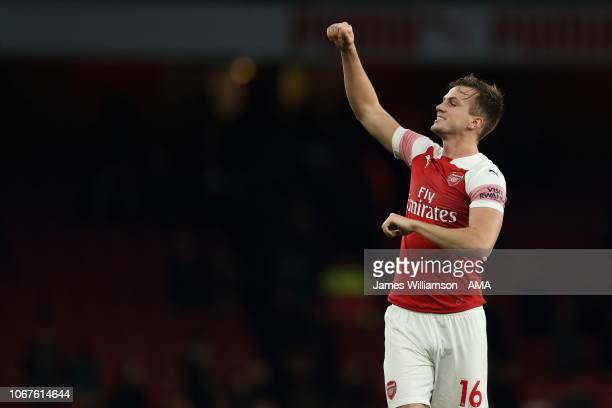 Rob Holding of Arsenal celebrates his sides 42 victory over Tottenham at full time of the Premier League match between Arsenal FC and Tottenham...