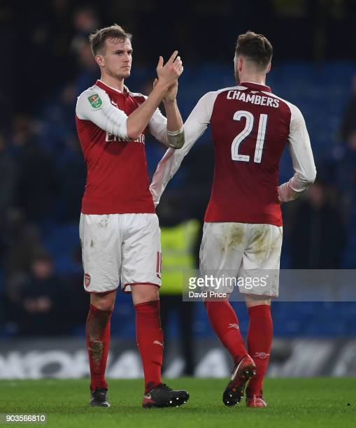 Rob Holding of Arsenal claps the fans after the Carabao Cup Semie Final 1st leg match between Chelsea and Arsenal at Stamford Bridge on January 10...