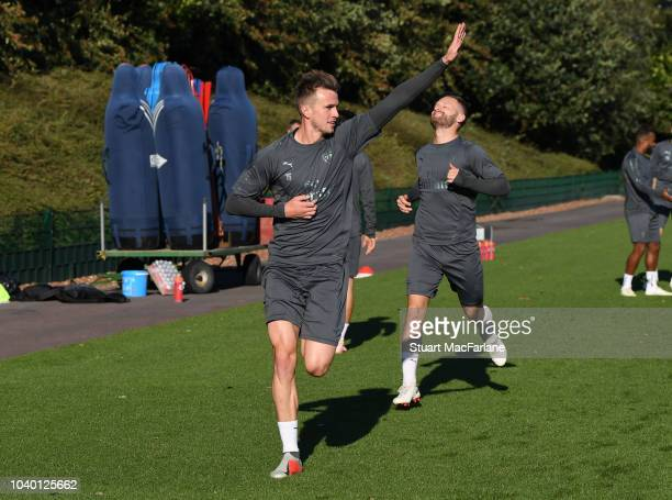 Rob Holding of Arsenal during a training session at London Colney on September 25 2018 in St Albans England