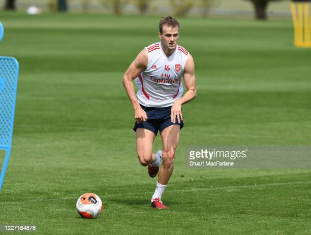 Rob Holding of Arsenal during a training session at London Colney on May 26 2020 in St Albans England