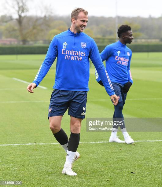 Rob Holding of Arsenal during a training session at London Colney on May 08, 2021 in St Albans, England.