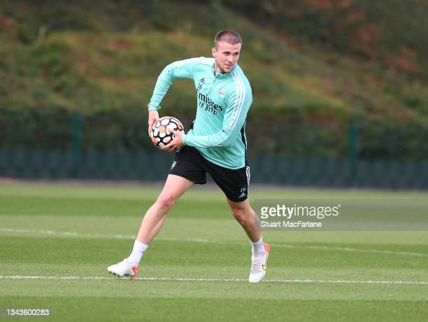 Rob Holding of Arsenal during a training session at London Colney on September 28, 2021 in St Albans, England.