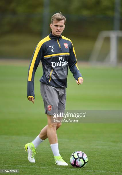 Rob Holding of Arsenal during a training session at London Colney on April 29 2017 in St Albans England