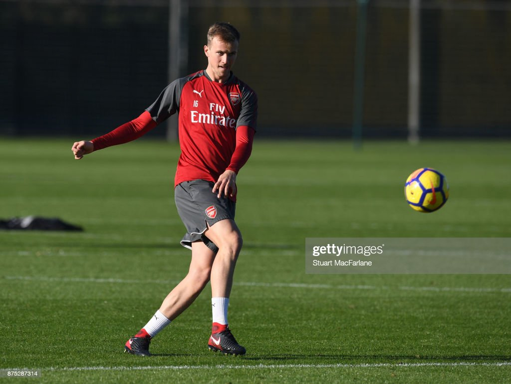 Rob Holding of Arsenal during a training session at London Colney on November 17, 2017 in St Albans, England.