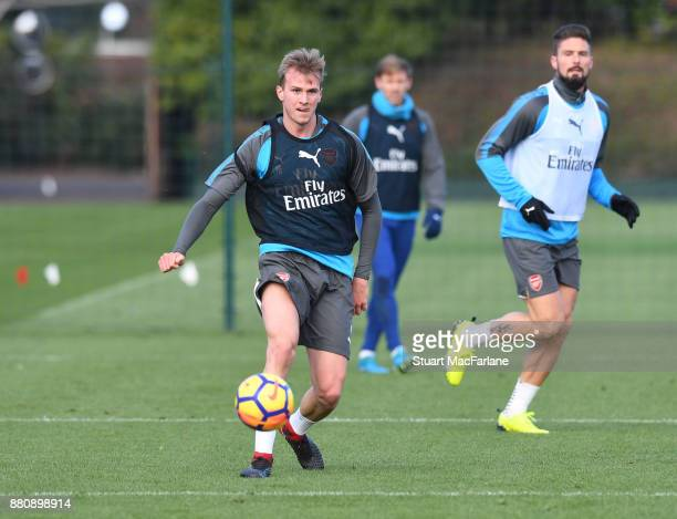 Rob Holding of Arsenal during a training session at London Colney on November 28 2017 in St Albans England