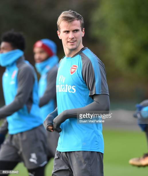 Rob Holding of Arsenal during a training session at London Colney on December 15 2017 in St Albans England