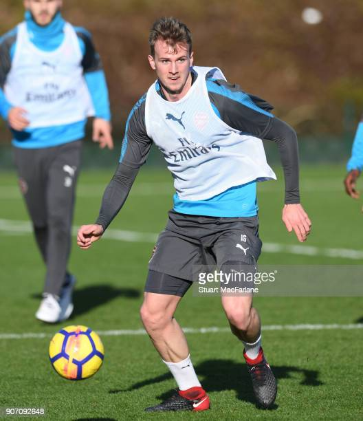 Rob Holding of Arsenal during a training session at London Colney on January 19 2018 in St Albans England