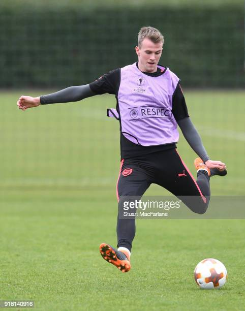 Rob Holding of Arsenal during a training session at London Colney on February 14 2018 in St Albans United Kingdom