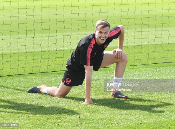 Rob Holding of Arsenal during a training session at London Colney on April 25 2018 in St Albans England