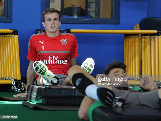 Rob Holding of Arsenal during a training session at San Jose State University on July 26 2016 in San Jose California
