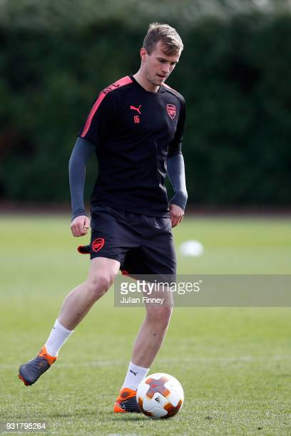 Rob Holding of Arsenal during an Arsenal Training Session ahead of there Europa League 2nd Leg match against AC Milan at London Colney on March 14...