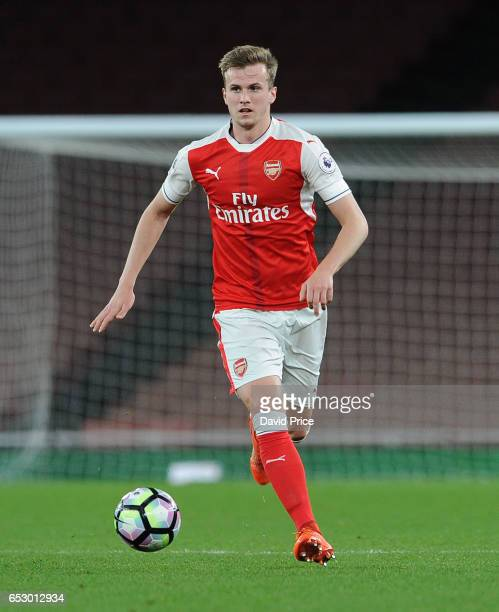 Rob Holding of Arsenal during match between Arsenal and Manchester City at Emirates Stadium on March 13 2017 in London England