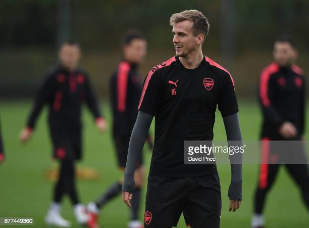 Rob Holding of Arsenal during the 1st team training session at London Colney on November 22 2017 in St Albans England