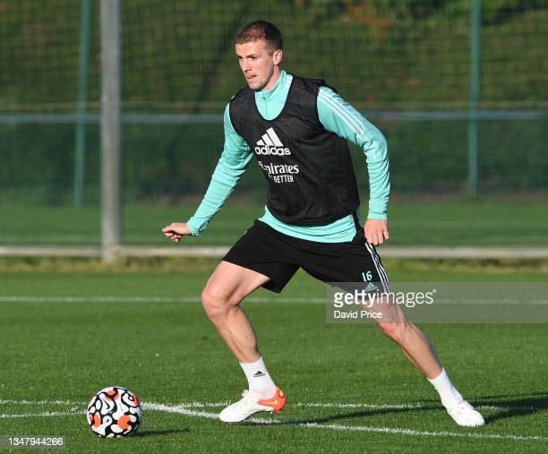 Rob Holding of Arsenal during the Arsenal 1st team training session at London Colney on October 21, 2021 in St Albans, England.