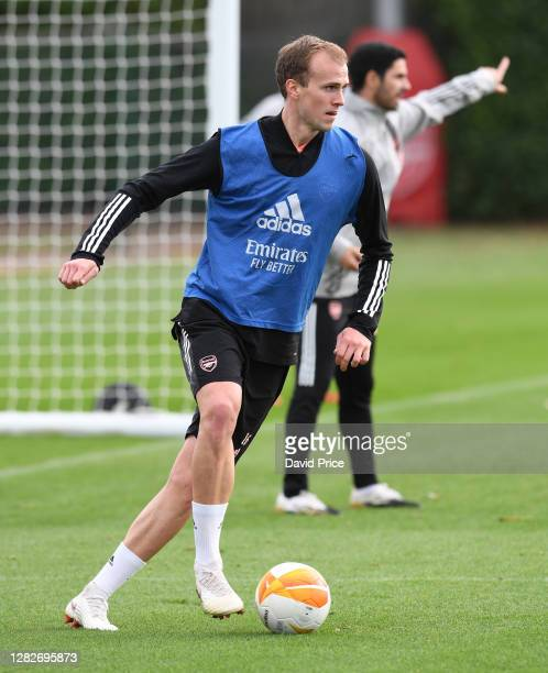 Rob Holding of Arsenal during the Arsenal training session ahead of the UEFA Europa League Group B stage match between Arsenal FC and Dundalk FC at...