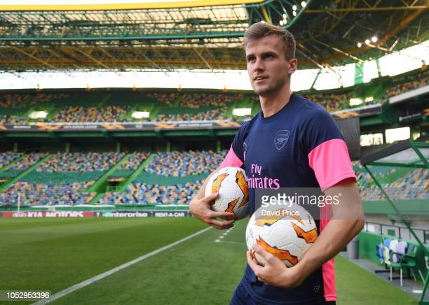 Rob Holding of Arsenal during the Arsenal Training Session at Estadio Jose Alvalade on October 24 2018 in Lisbon Portugal