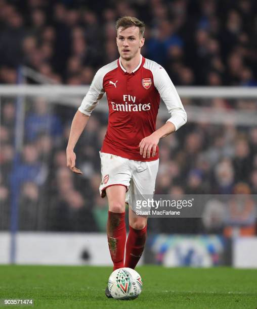 Rob Holding of Arsenal during the Carabao Cup SemiFinal First Leg match between Chelsea and Arsenal at Stamford Bridge on January 10 2018 in London...
