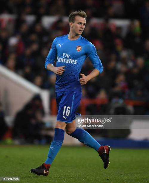 Rob Holding of Arsenal during the FA Cup 3rd Round match between Nottingham Forest and Arsenal at City Ground on January 7 2018 in Nottingham England