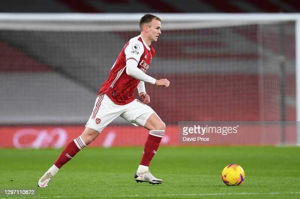 Rob Holding of Arsenal during the Premier League match between Arsenal and Newcastle United at Emirates Stadium on January 18, 2021 in London,...