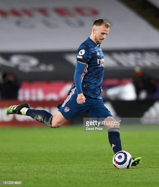 Rob Holding of Arsenal during the Premier League match between Sheffield United and Arsenal at Bramall Lane on April 11, 2021 in Sheffield, England.