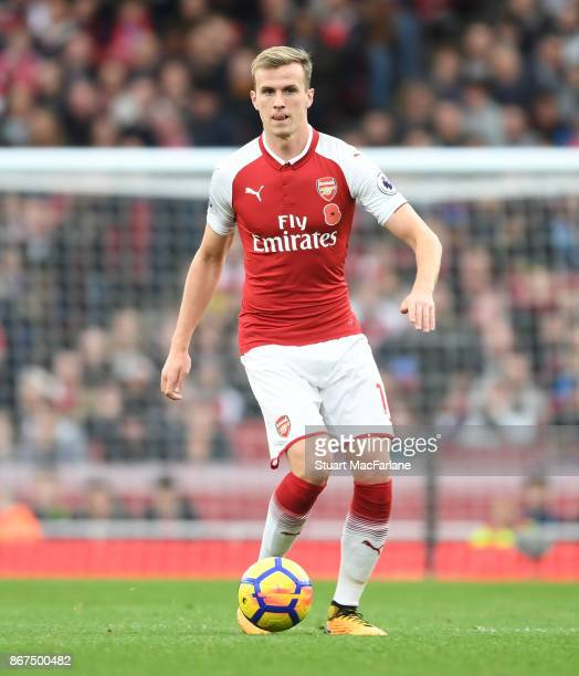 Rob Holding of Arsenal during the Premier League match between Arsenal and Swansea City at Emirates Stadium on October 28 2017 in London England