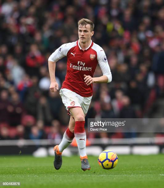 Rob Holding of Arsenal during the Premier League match between Arsenal and Watford at Emirates Stadium on March 11 2018 in London England