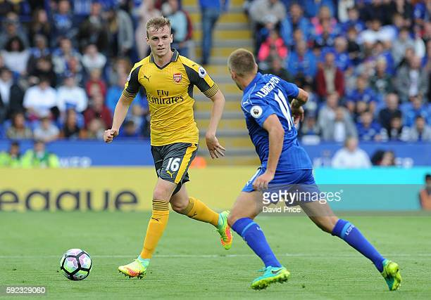 Rob Holding of Arsenal during the Premier League match between Leicester City and Arsenal at The King Power Stadium on August 20 2016 in Leicester...