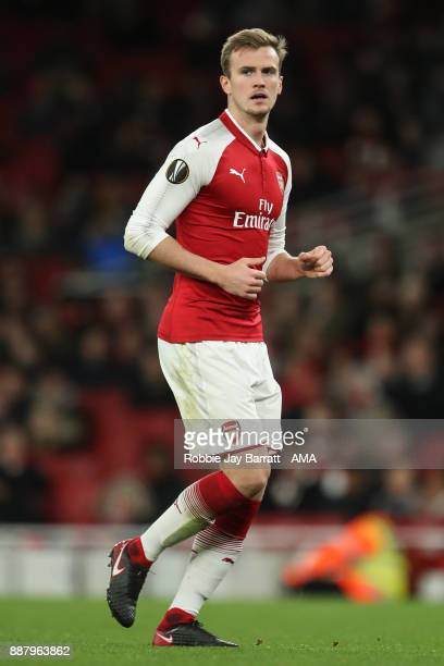 Rob Holding of Arsenal during the UEFA Europa League group H match between Arsenal FC and BATE Borisov at Emirates Stadium on December 7 2017 in...