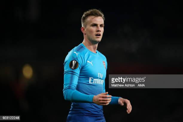Rob Holding of Arsenal during UEFA Europa League Round of 32 match between Arsenal and Ostersunds FK at the Emirates Stadium on February 22 2018 in...