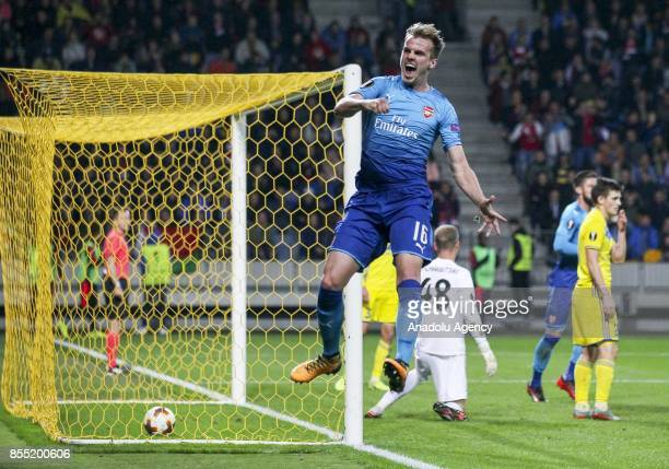 Rob Holding of Arsenal FC celebrates a goal during the UEFA Europa League group H match between BATE Borisov and Arsenal FC at the BorisovArena...