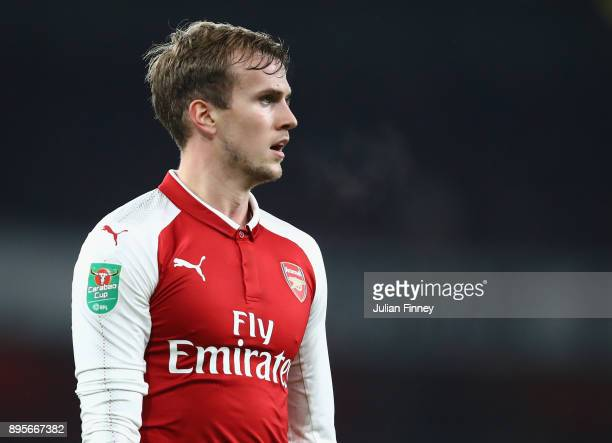 Rob Holding of Arsenal in action during the Carabao Cup Quarter Finals match between Arsenal and West Ham United at Emirates Stadium on December 19...