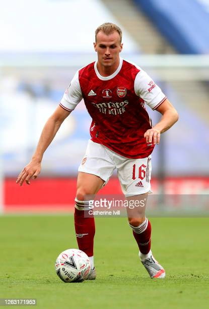 Rob Holding of Arsenal in action during the Heads Up FA Cup Final match between Arsenal and Chelsea at Wembley Stadium on August 01, 2020 in London,...