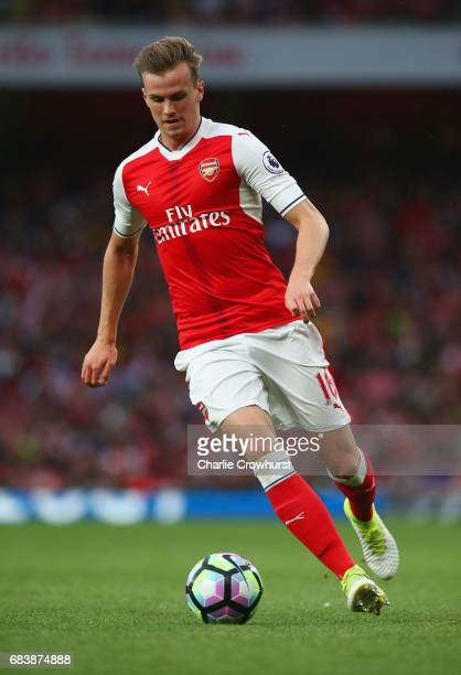 Rob Holding of Arsenal in action during the Premier League match between Arsenal and Sunderland at Emirates Stadium on May 16 2017 in London England