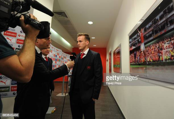 Rob Holding of Arsenal is interviewed before the Premier League match between Arsenal and Sunderland at Emirates Stadium on May 16 2017 in London...