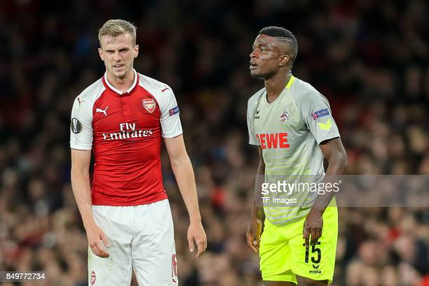 Rob Holding of Arsenal Jhon Andres Cordoba Copete of FC Koeln looks on during the UEFA Europa League group H match between Arsenal FC and 1 FC Koeln...
