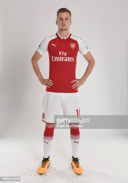 Rob Holding of Arsenal poses in a first team photocall at Emirates Stadium on August 3 2017 in London England