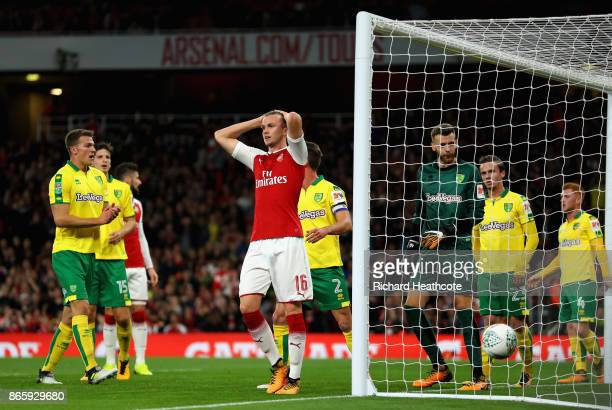 Rob Holding of Arsenal reacts after a missed shot during the Carabao Cup Fourth Round match between Arsenal and Norwich City at Emirates Stadium on...