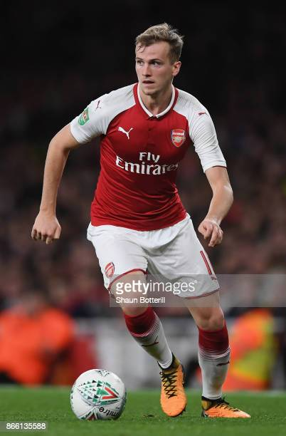 Rob Holding of Arsenal runs with the ball during the Carabao Cup fourth round match between Arsenal and Norwich City at Emirates Stadium on October...
