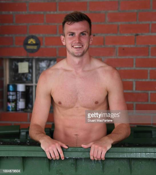 Rob Holding of Arsenal takes an ice bath after a training session at Singapore American School on July 24 2018 in Singapore