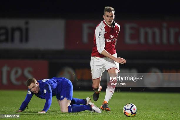 Rob Holding of Arsenal takes on Shayne Lavery of Everton during the Premier League 2 match between Arsenal and Everton at Meadow Park on February 5...