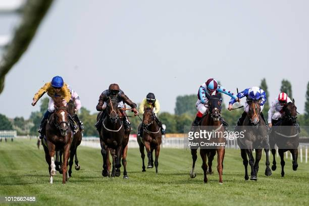 Rob Hornby riding Even Keel win The Hilton Woods Cornwall Nursery Stakes at Newbury Racecourse on August 7 2018 in Newbury United Kingdom