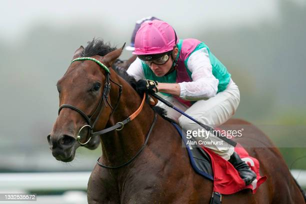 Rob Hornby riding Westover win The British EBF Maiden Stakes at Sandown Park on August 05, 2021 in Esher, England.