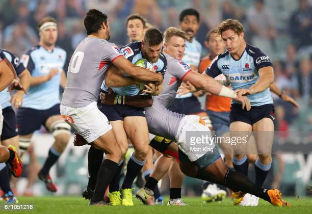 Rob Horne of the Waratahs is tackled during the round nine Super Rugby match between the Waratahs and the Kings at Allianz Stadium on April 21 2017...