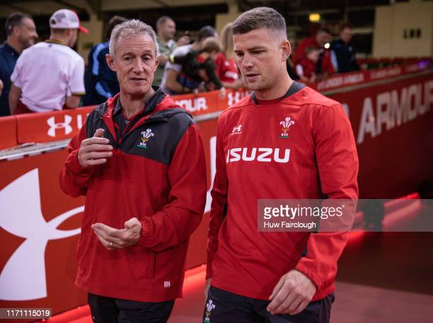 Rob Howley and Scott Williams of Wales enters the stadium to take part in the Captains Run ahead of their match with Ireland at the Principality...