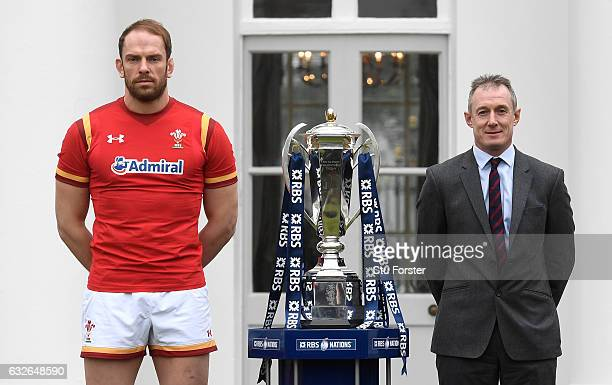 Rob Howley Head Coach of Wales and Alun Wyn Jones Captain of Wales pose With The Six Nations Trophy during the 2017 RBS Six Nations launch at The...