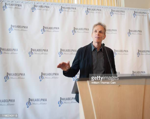 Rob Hyman of The Hooters speaks with the media after his band was nominated for induction during the announcement of the 2019 Philadelphia Music...