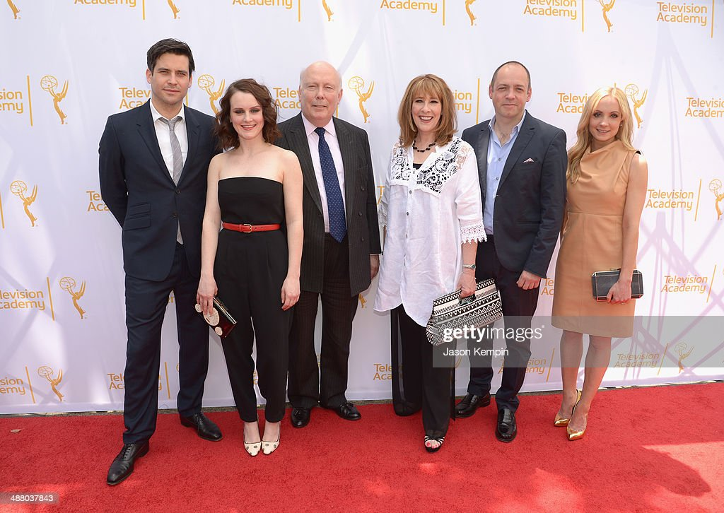 Rob James-Collier, Sophie McShera, Julian Fellowes, Phyllis Logan, Gareth Neame and Joanne Froggatt attend The Television Academy Presents An Afternoon with 'Downton Abbey' at Paramount Studios on May 3, 2014 in Hollywood, California.