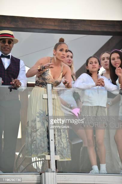 Rob Jennifer Lopez with children Emme Maribel Muñiz Maximilian David Muñiz at the 2020 Pegasus World Cup Championship Invitational Series at David...